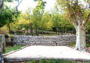 Boulodrome, platanes et murs centenaires